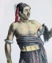 Print of a warrior of Savu wearing an elaborate headdress